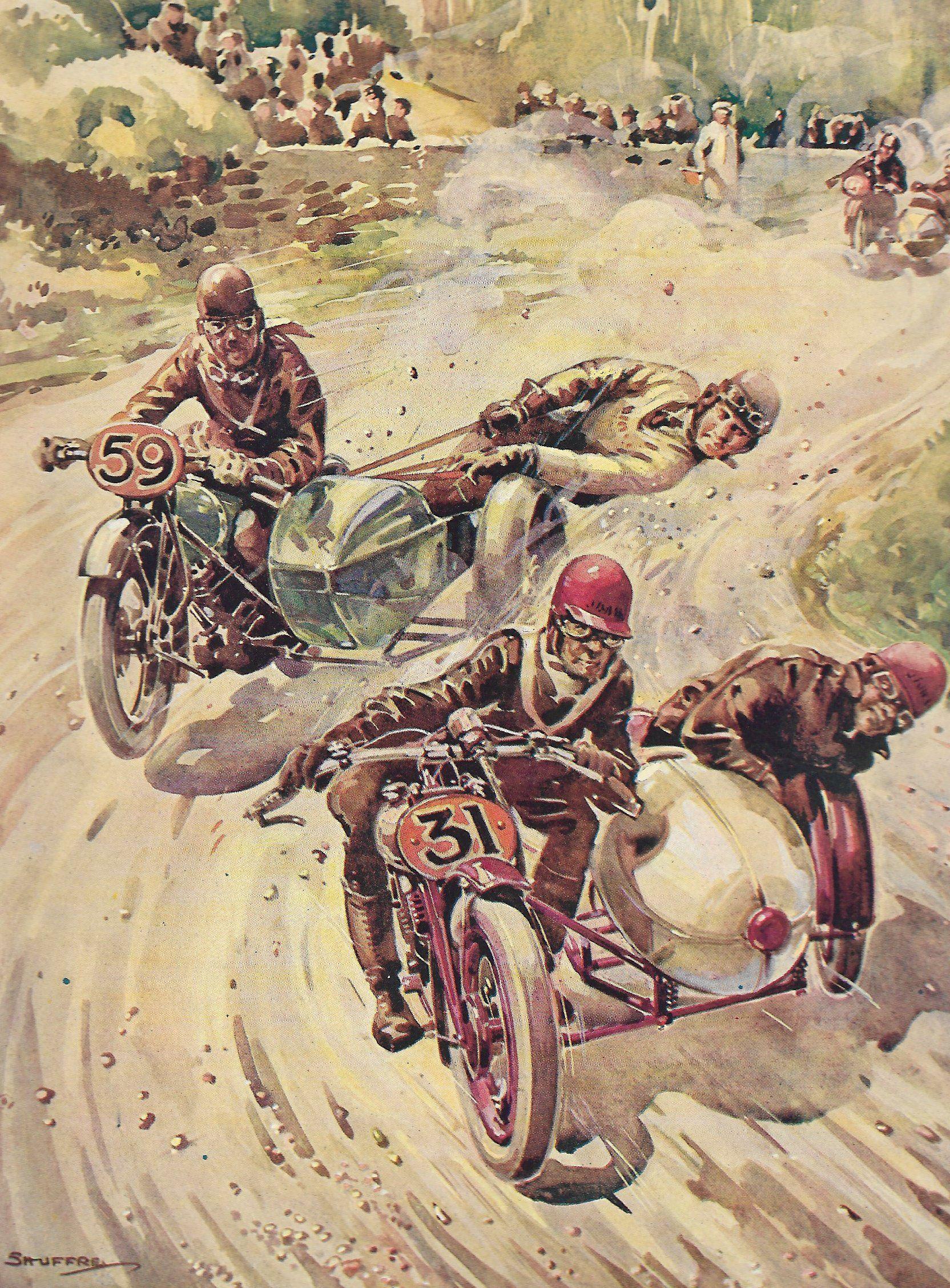 1920s Original Motorbike And Sidecar Vintage Print Motorcycle And