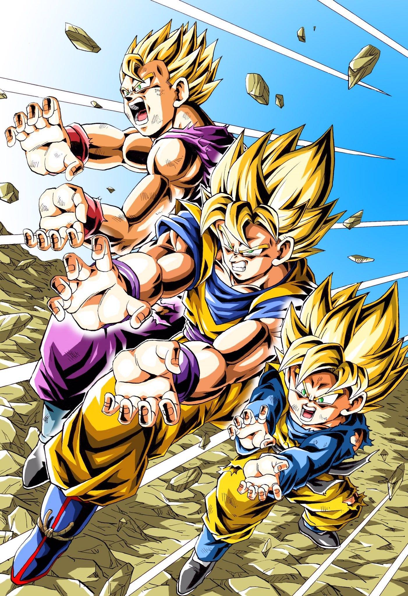 Family Kame Hame Ha Goku Gohan And Goten Ssj1 Anime Dragon Ball Super Dragon Ball Goku Dragon Ball Super Goku