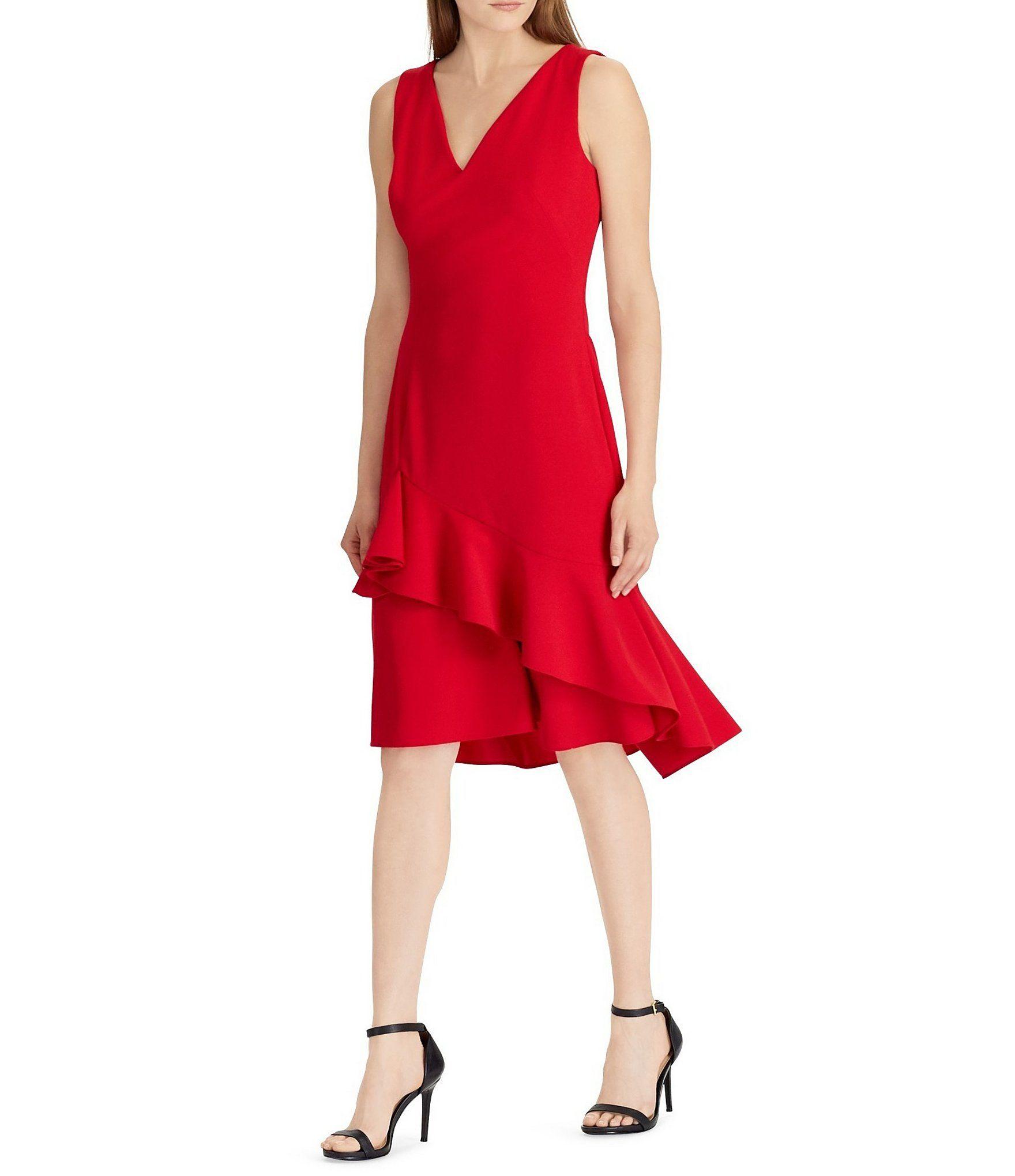 bbce438b5ef Lauren Ralph Lauren V-Neck Sleeveless Asymmetrical Ruffle Hem Dress   Dillards
