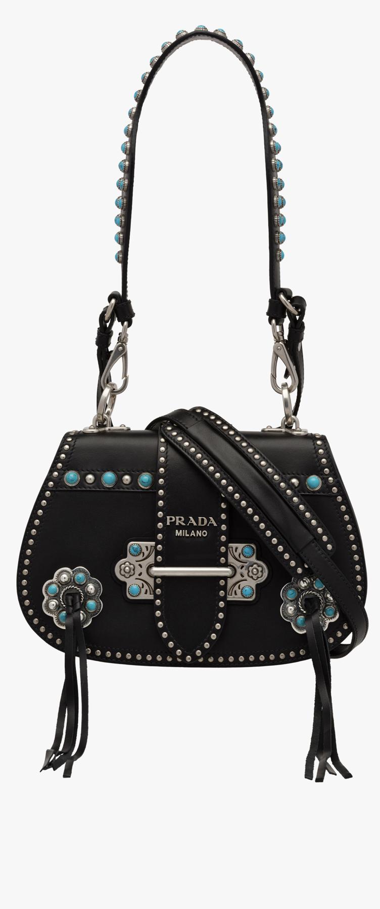 e6af20f333 Prada western handbag black silver and turquoise | ACCESSORIES SHOW ...