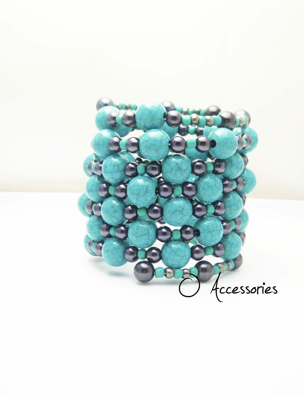 Aqua Blue and Gray Memory Wire Cuff Bracelet | Pinterest | Aqua blue ...
