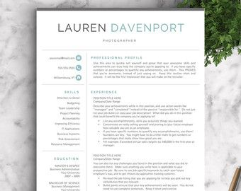 Modern Resume Template For Word And Pages The Elliot Grey