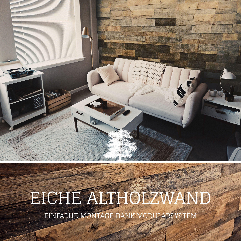 Unsere Wunderschone Wandverkleidung Aus Eichen Altholz Besticht Durch Sein Speziell Vorgefertigtes Modulsystem Sie Kon Style At Home Wohnen Zuhause Dekoration