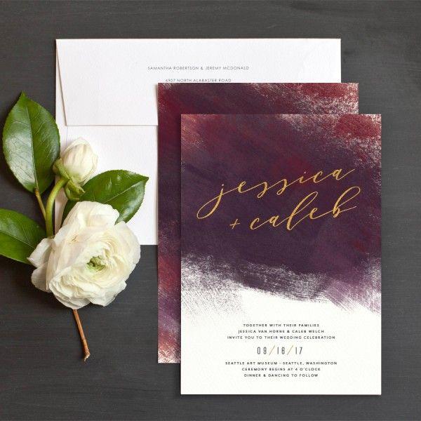 Modern Brushstroke Wedding Invitations