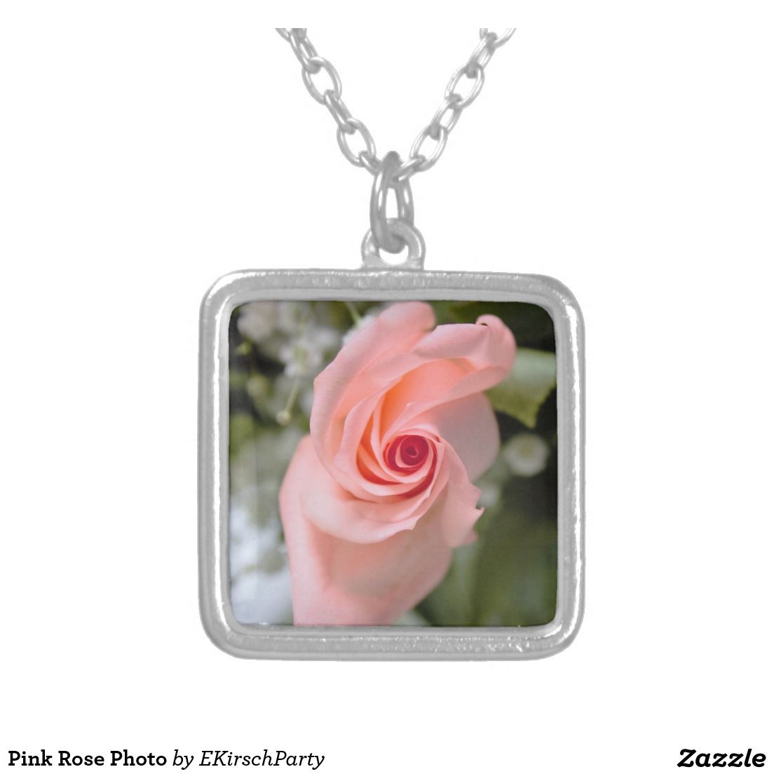 Pink Rose Photo Square Pendant Necklace