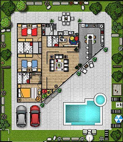Planos triangulares planos house design house plans y for Planos para construir una piscina