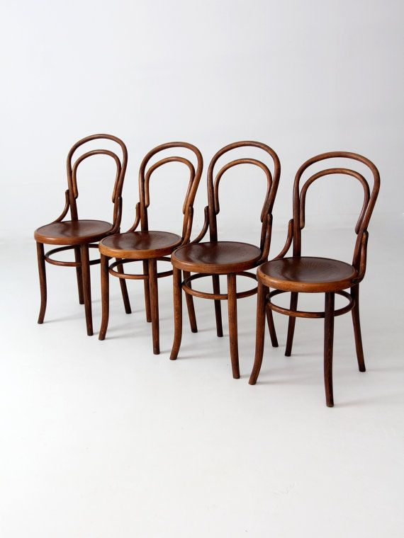 late 1800s This is a set of antique bentwood chairs by Fischel, a  contemporary of Thonet. The slender wood chairs feature decorative pressed  wood seats. - Antique Fischel Bentwood Chair Set Of 4 Wooden Furniture