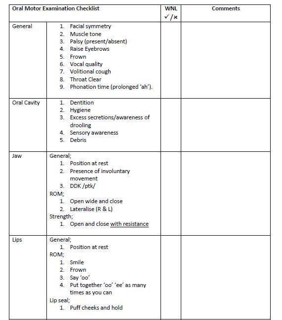 Oral Mechanism Checklist  HttpWwwPicFlyComOralMotorExam