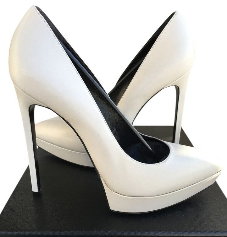 09387fcfe3c  775 YSL SAINT LAURENT JANIS WHITE PORCELANA PLATFORM PUMPS PUMP SHOES 40  NIB Come with YSL original box