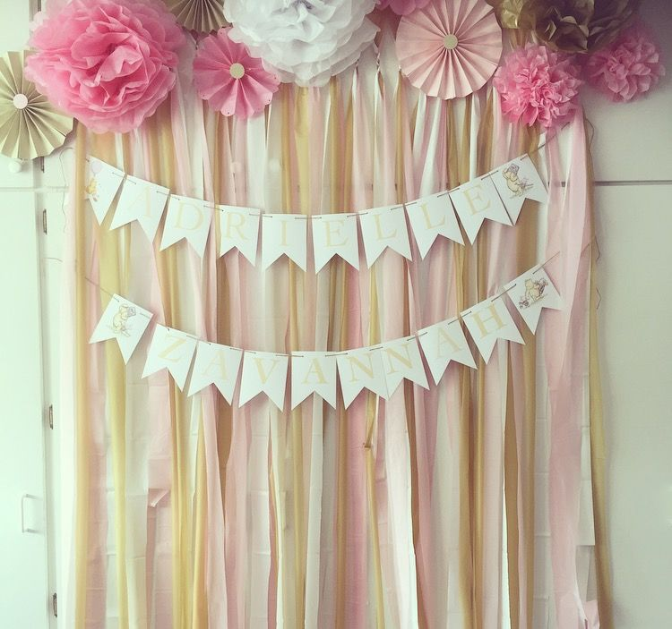 Vintage Winnie the Pooh theme! Pink, white and gold ribbon with paper flowers!
