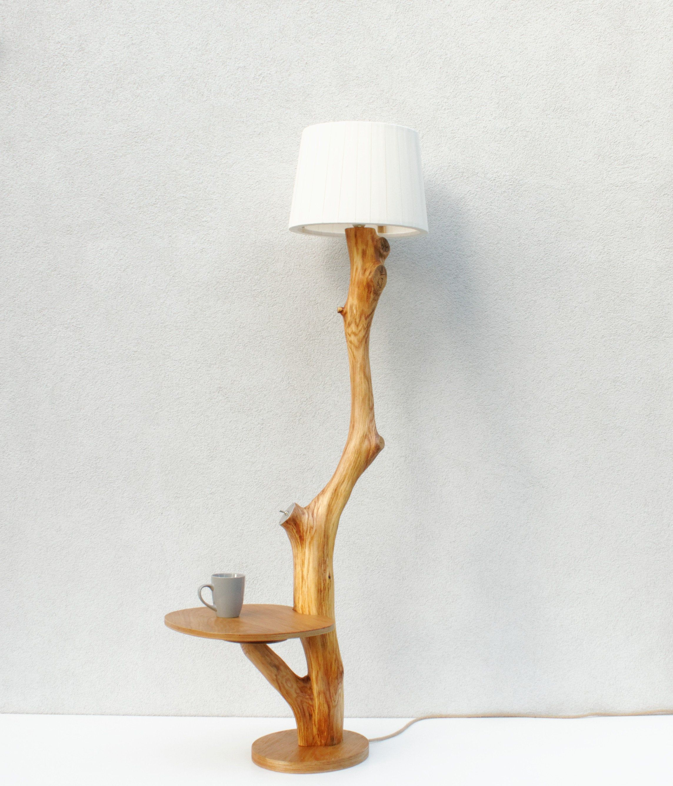 Floor Lamp Made Of Natural Oak Branch Eco Lamp Coffee Table Lighting Shelf Bedside Table Nature Design Hand Made Wooden Lamp Lamp Coffee Table