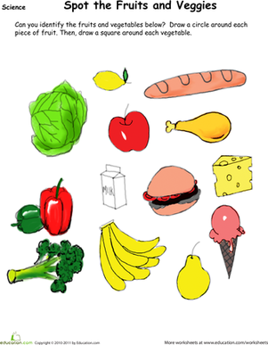 Find The Fruit And Veggies Worksheets Veggies And