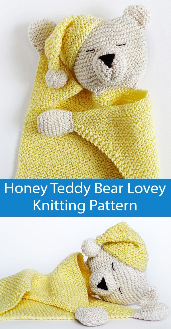 Knitting Pattern for Honey Teddy Bear Lovey Baby Blanket
