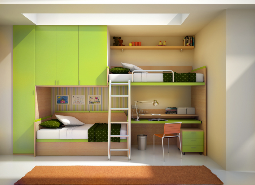 Green Modern Shared Kids Room Design With Cool Bunk Beds Wide And Tall