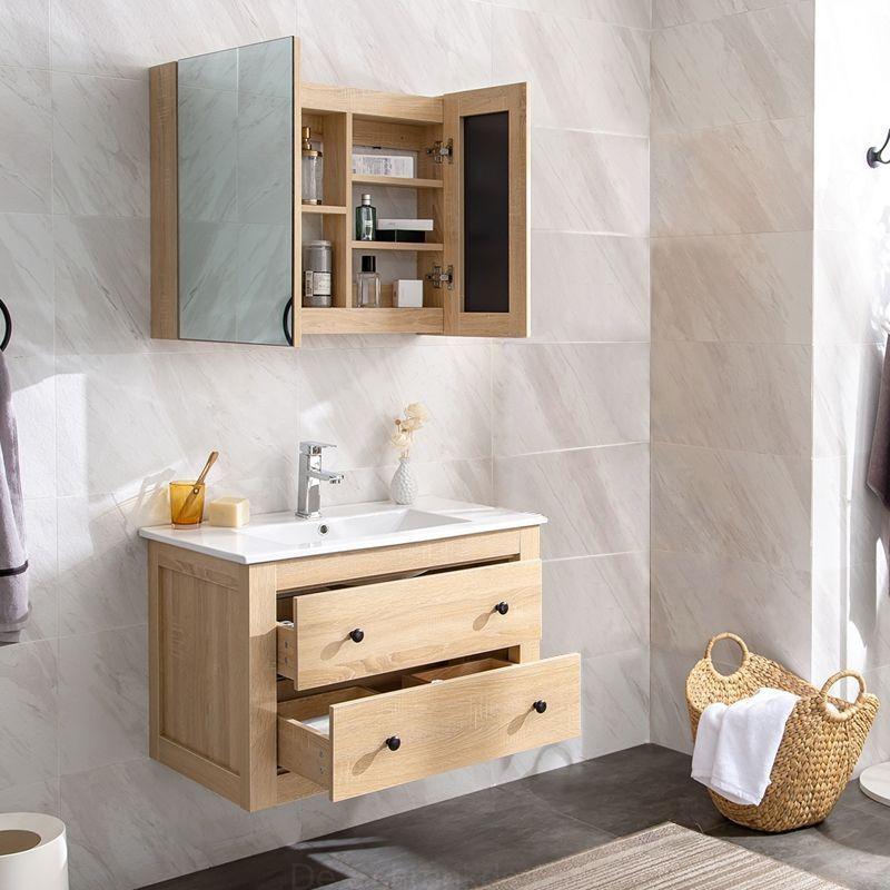 Moderne 24 Single Sink Floating Badezimmer Waschtisch Wandhalterung Waschtisch Mit Medizin Schrank Badezimmer Waschtische Waschbeckenunterschrank Waschtisch