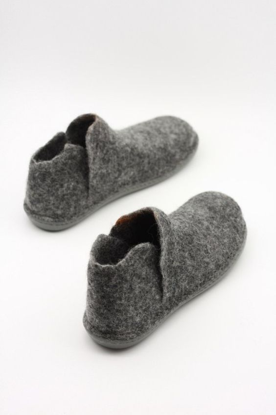 Photo of LUCIELALUNE grey ankle boots for men women handmade felted merino wool slip ons fall/winter boots men gifts ASB18