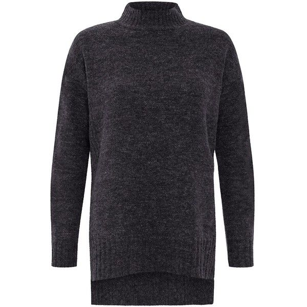 Grey High Neck Dip Hem Jumper (€24) ❤ liked on Polyvore featuring tops, sweaters, charcoal, grey long sleeve top, high neck top, jumper top, charcoal gray sweater and long sleeve sweaters