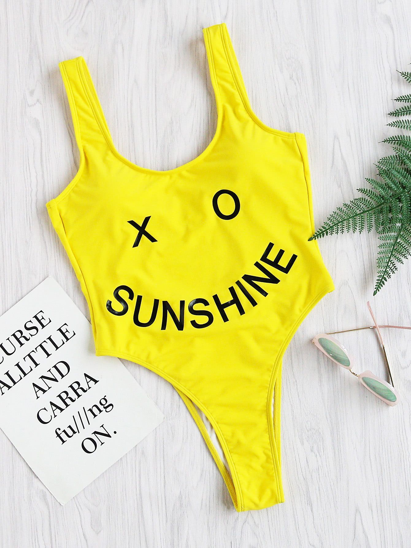 d99f9af496a Yellow Smiley Face Print High Leg Swimsuit | Tumblr outfits | Yellow ...