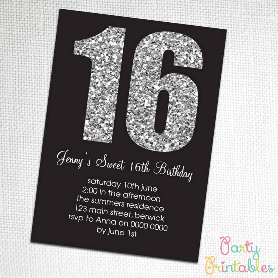 Glitter Invitation for a 16th Party. | INVITATIONS FOR ADULTS ...