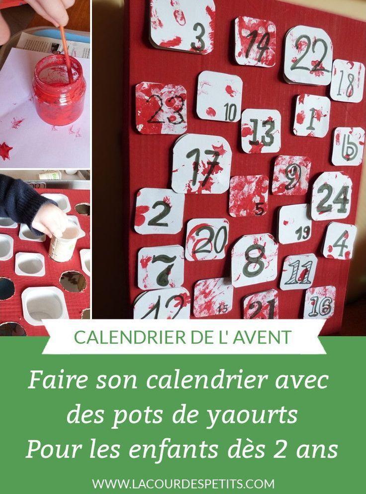 Bricolage de Noël : le calendrier de l'Avent avec des pots de yaourts #calendrierdelaventfaitmaisonfacile Un calendrier de l'avent fait maison avec les enfants. Retrouvez le tuto de ce DIY facile à faire avec des enfants dès 2 ans (voire avec bébé). On peut également le faire avec des gobelets #calendrieravent #avent #bricolagenoel #recup #lacourdespetits