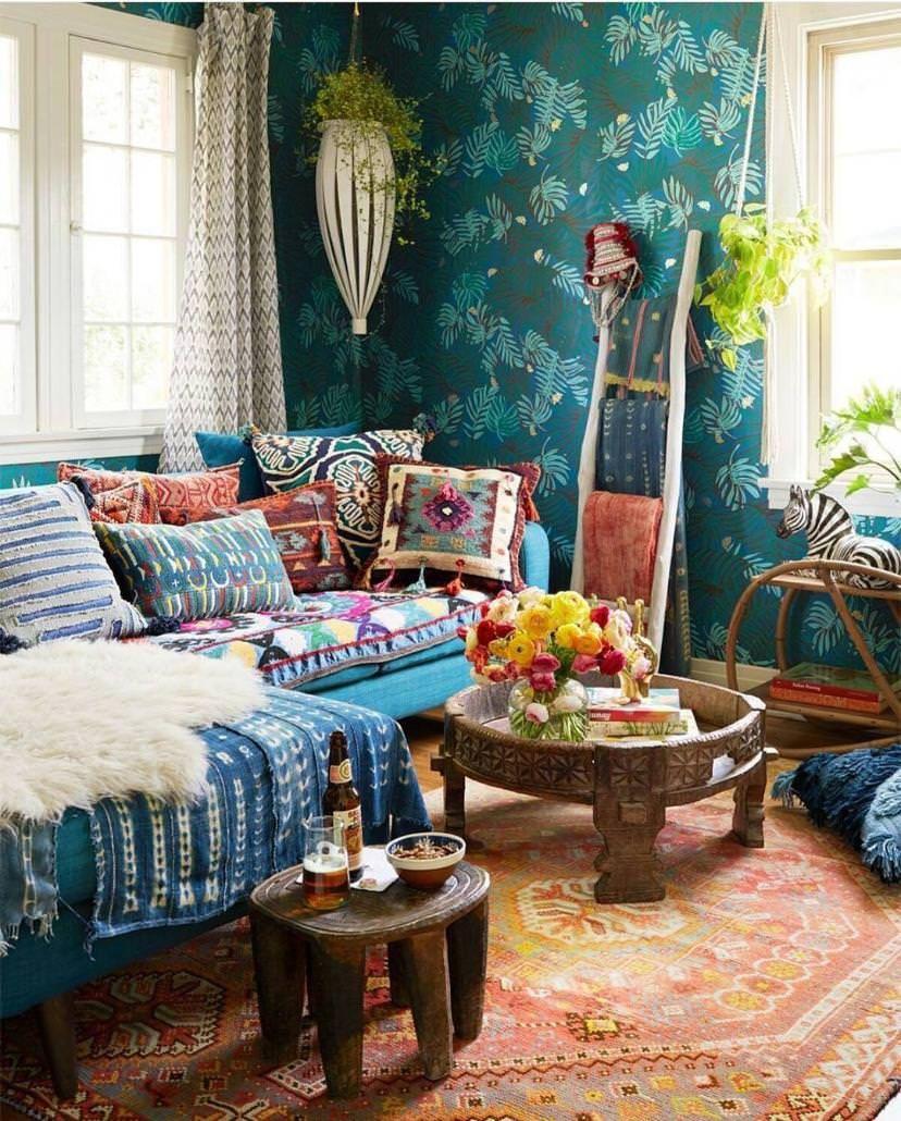 wohnzimmer im boho look mit tollen mustern und farben interior boho look pinterest. Black Bedroom Furniture Sets. Home Design Ideas