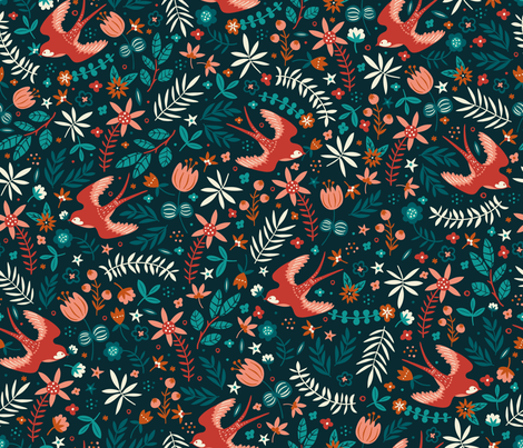 Flying Swallows fabric by annadeegan on Spoonflower - custom fabric