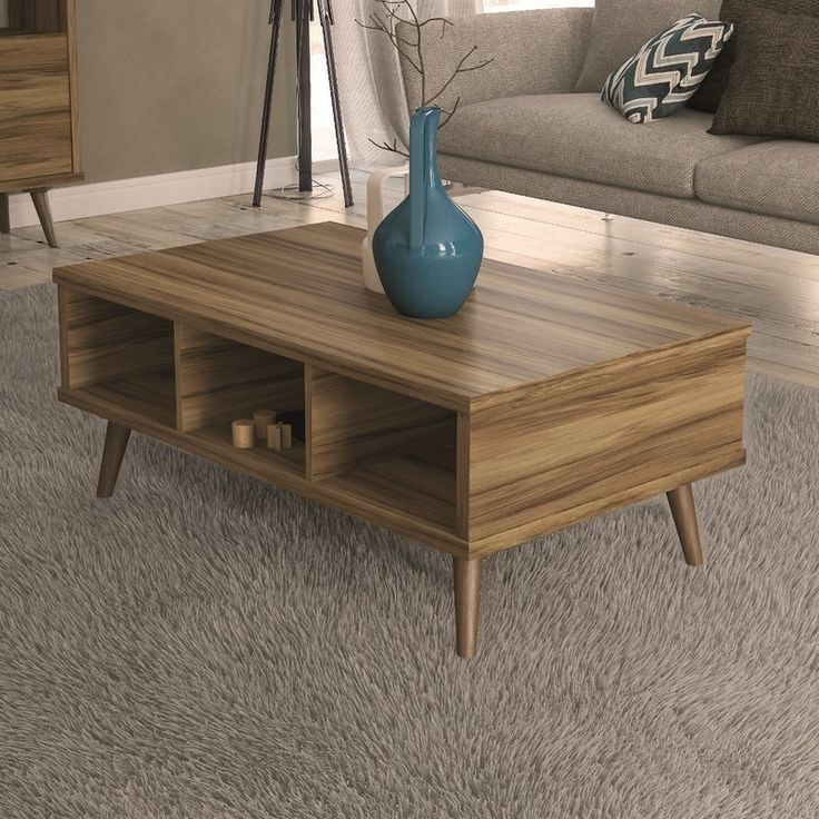 Affordable Modern Coffee Table Three Open Shelves For