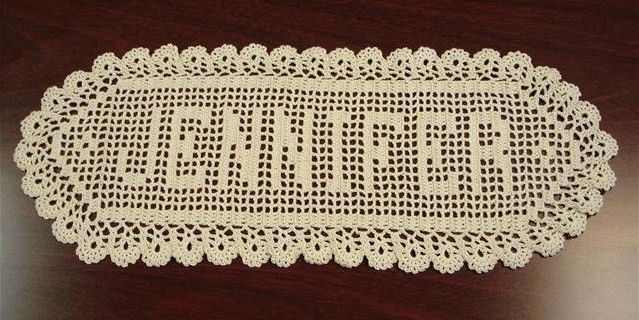 Free Filet Crochet Name Patterns Filet Crochet Name Doily Pattern