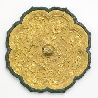 Back of a Tang Dynasty mirror, Gold Foil over Bronze.