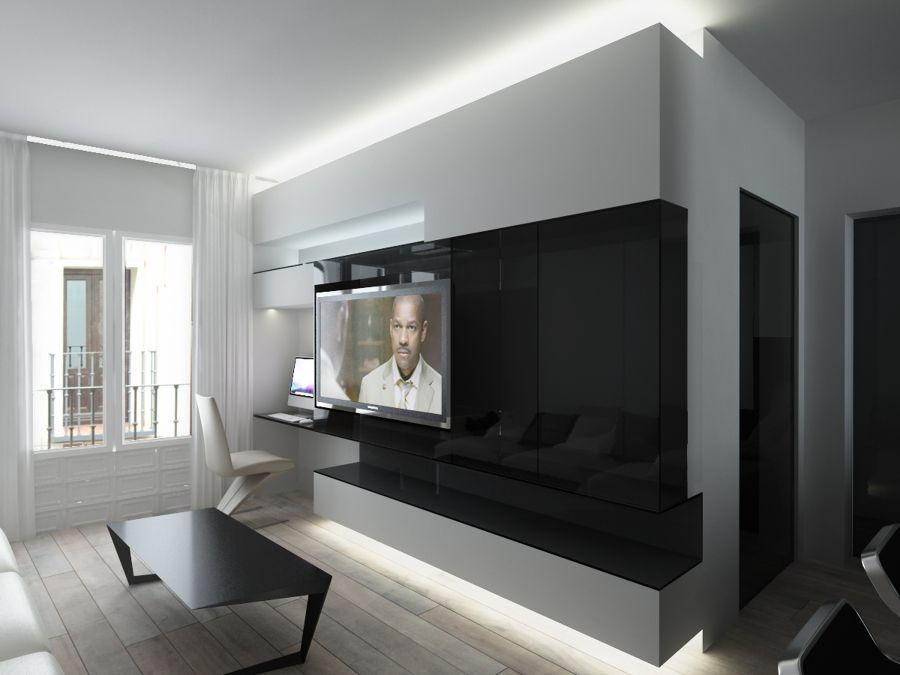 Verblendsteine in Ziegeloptik in schwarz für Fernseher Wand