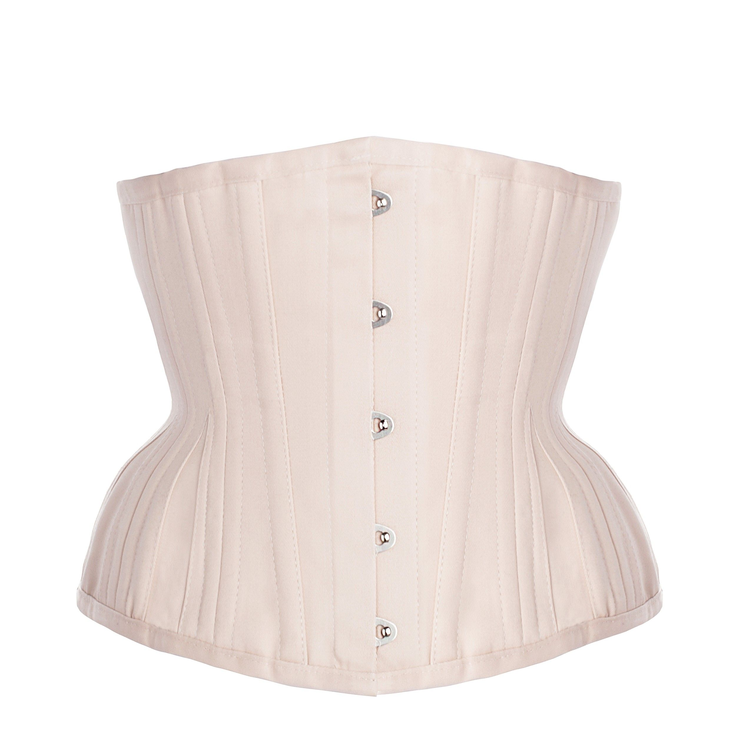 bda77ab1bc Pinky Beige Cotton Twill Classic Overbust Waist Trainer With Hip Gores - 20
