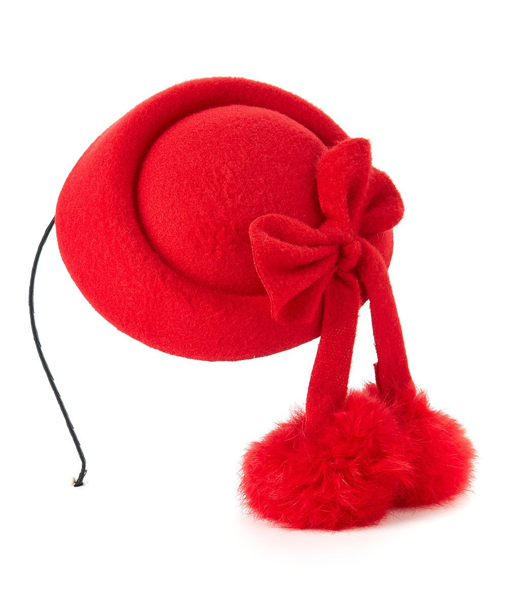 Look at this Jeanne Simmons Accessories Red Bow Fur-Blend Clip Headband on #zulily today!