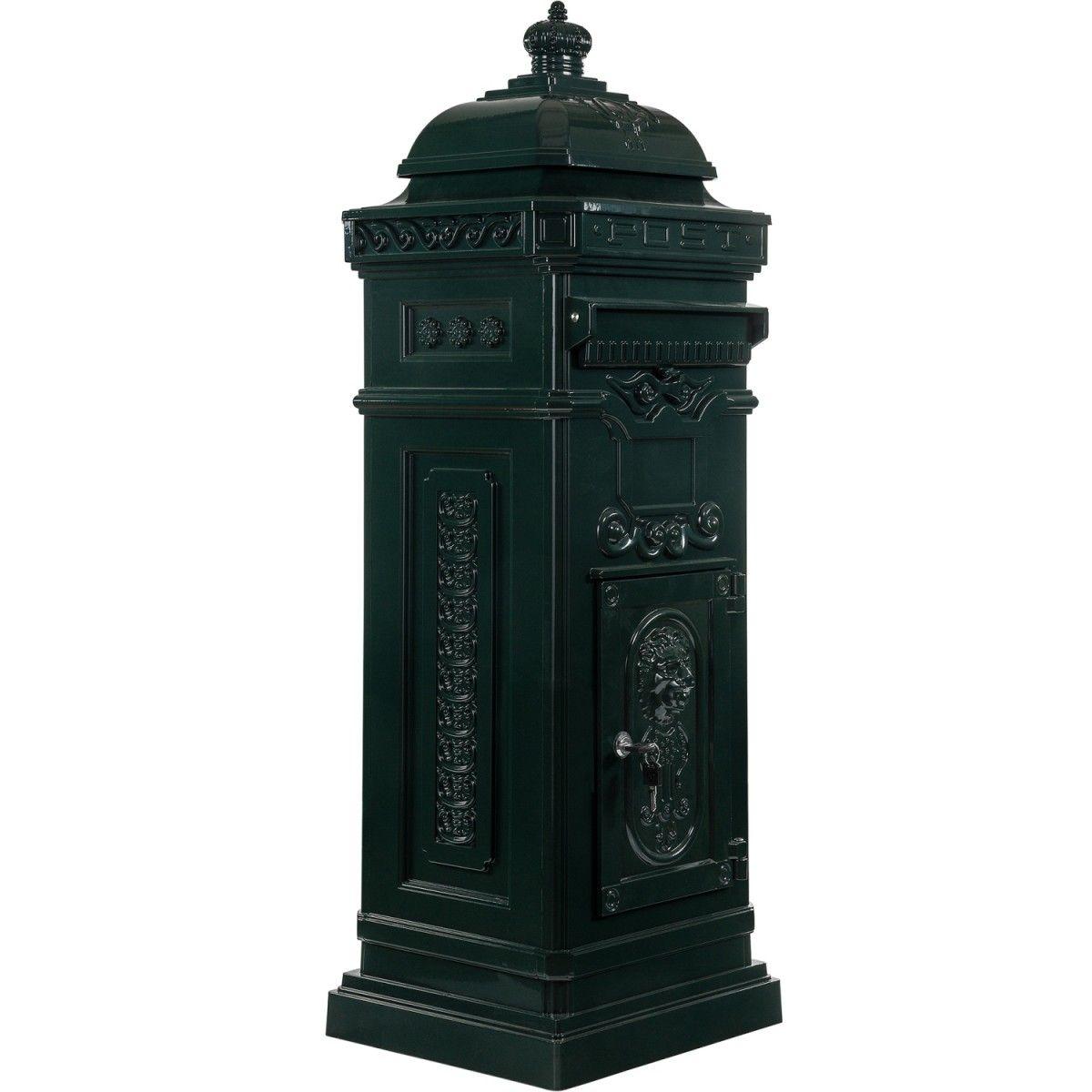 antiker englischer standbriefkasten aus rostfreiem aluminium farbe gr n h he 102 5 cm. Black Bedroom Furniture Sets. Home Design Ideas