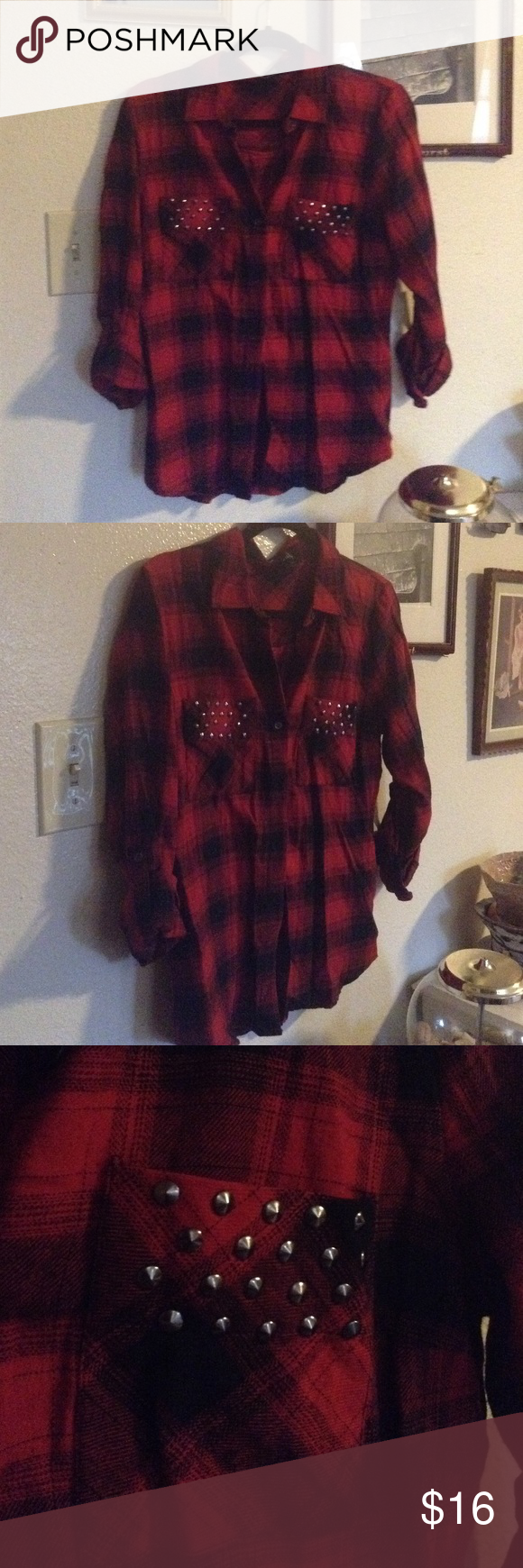 💥BOGOFree💥 Flannel Shirt Red Flannel button up collared shirt. Lightly used studded pockets. Wet Seal Tops Button Down Shirts