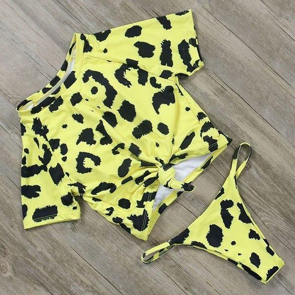 Rxrxcoco Sexy Bikinis 2019 Short Sleeve Brazilian Thong Bikini Set Pineapple Printed Women B1905 2