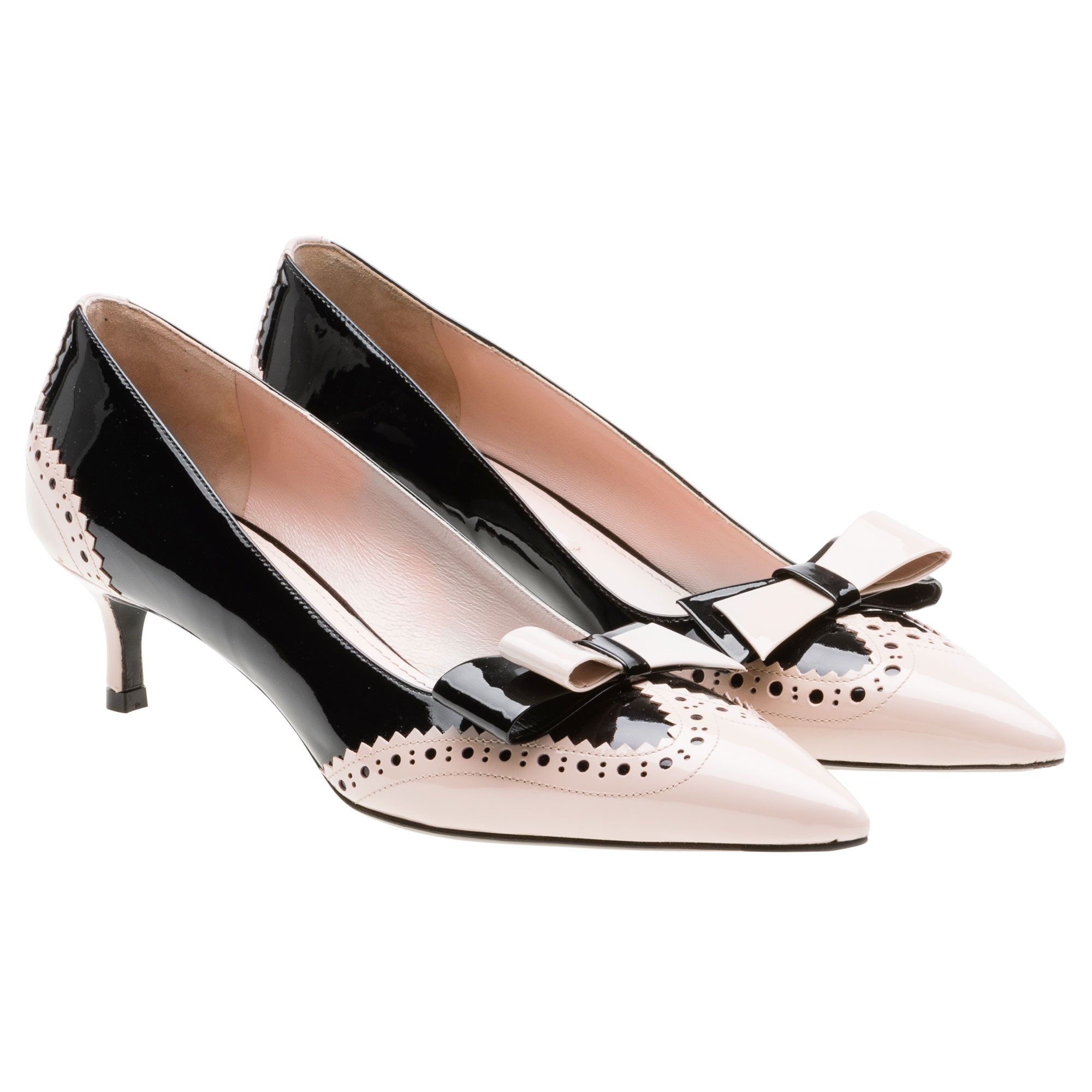Miu Miu Patent Leather Bow Detail Pumps Kitten Heel Shoes Heels Low Heel Shoes