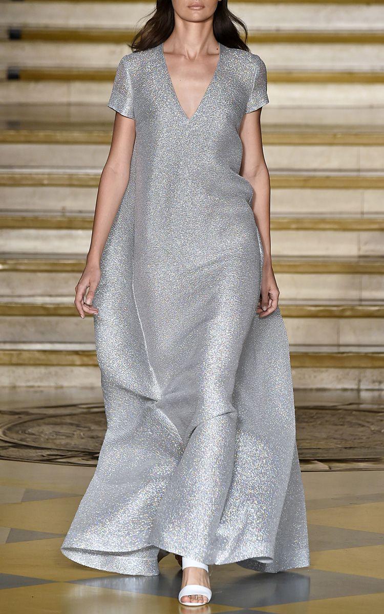 Emilia wickstead silver sparkles milly long dress longmaxi