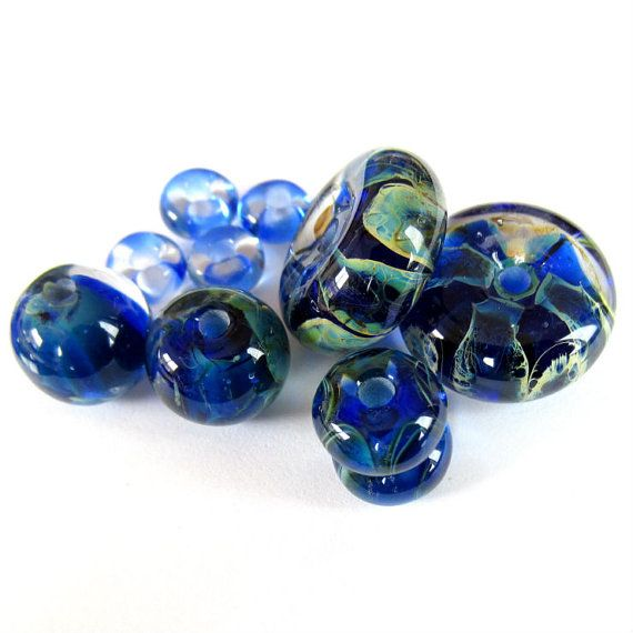 Handmade Lampwork wave glass bead set silvered blue