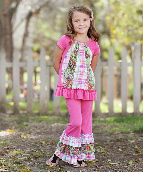 Take a look at the Pink Floral Patchwork Ruffle Tunic & Pants - Toddler & Girls on #zulily today!