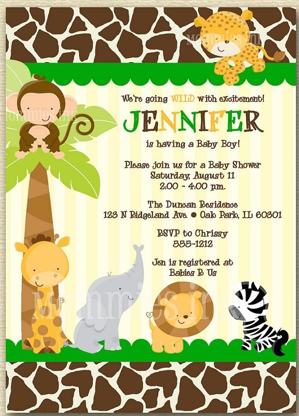 jungle theme baby shower invitation templates baby wall