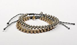 Bracelet grey round gold balls 12.95