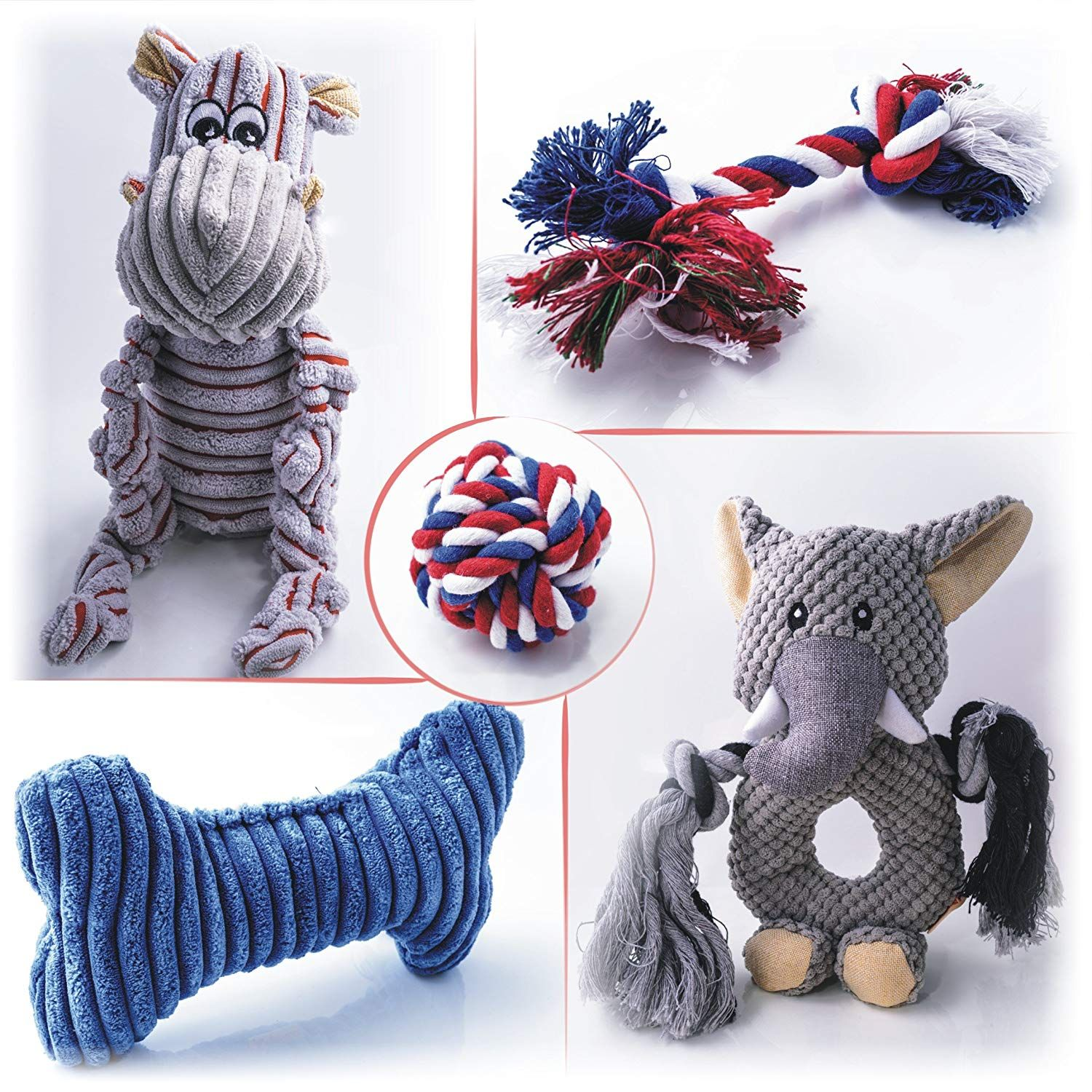 Cool Breed Dog Toys Multi Value Pack Squeaky Plush Rope