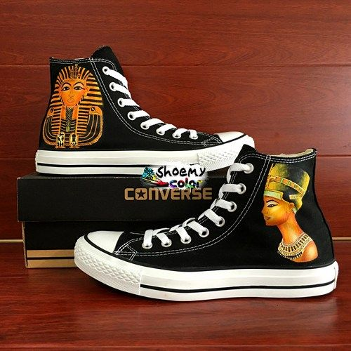 Converse Shoes Egypt Pharaoh King Queen Hand Painted Canvas