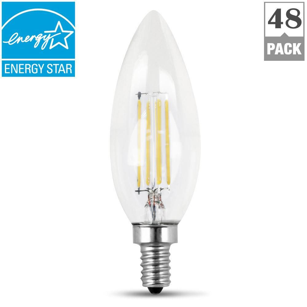 60 Watt Equivalent Daylight 5000k B10 Dimmable Filament Led Candelabra Base Clear Light Bulb Case Of 48 Light Bulb Bulb Clear Glass Chandelier