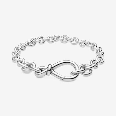 Chunky Infinity Knot Chain Bracelet | Chunky silver bracelet ...