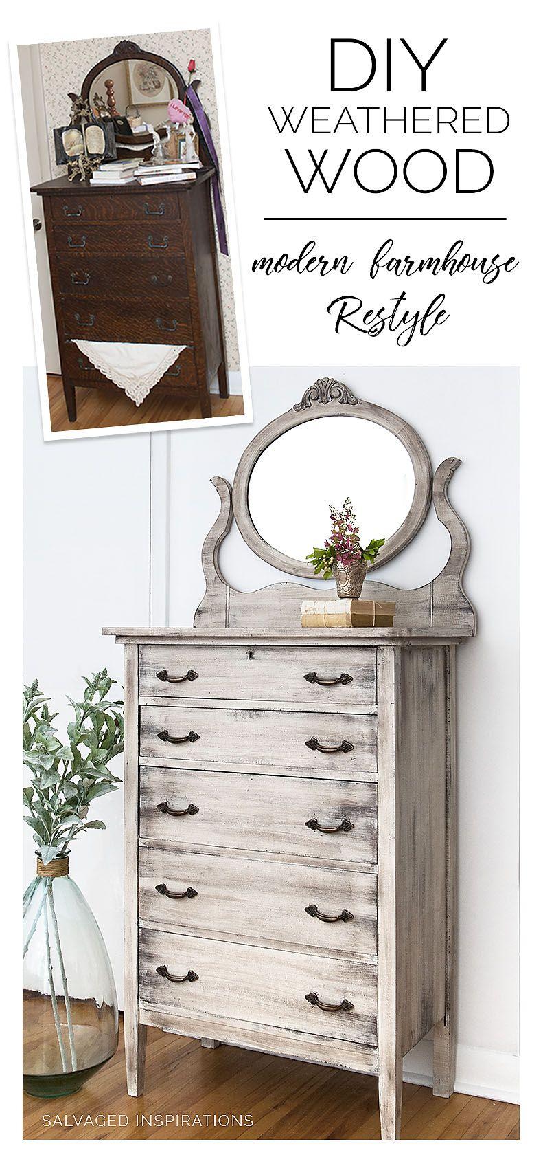 DIY Weathered Wood   Bedroom furniture makeover, Rustic ...
