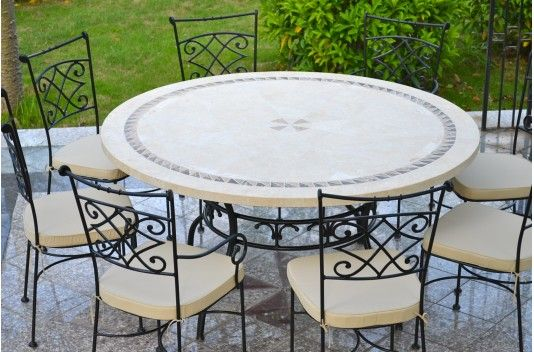 Table de jardin en mosaïque ronde pierre de marbre 160-125 ...