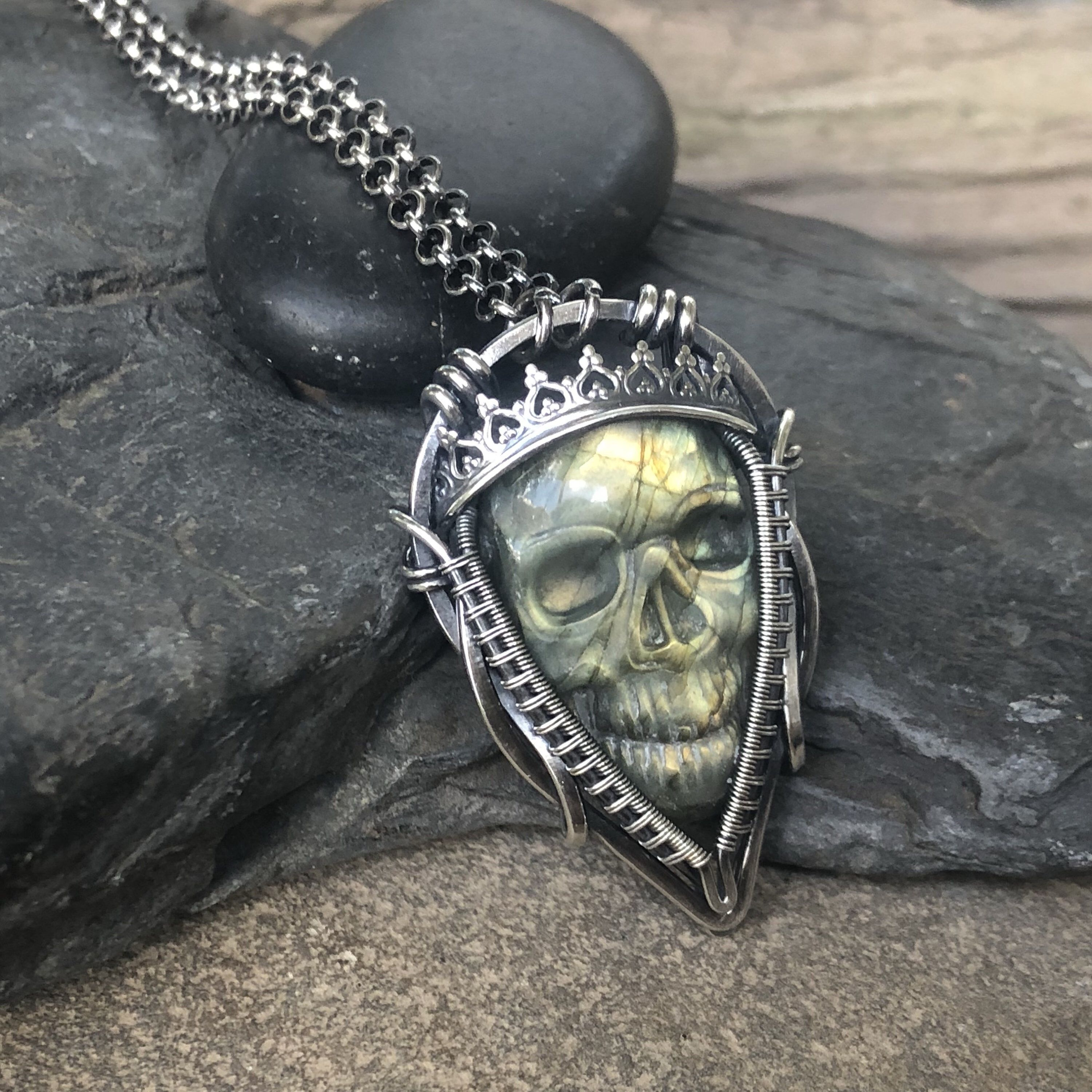 Photo Cabochon Glass necklace Silver Fashion pendant(skull with roses
