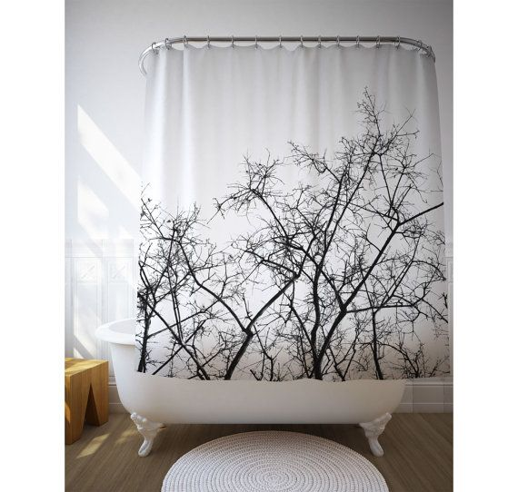 Tree Shower Curtain Dried Branches Black And White By Macrografiks