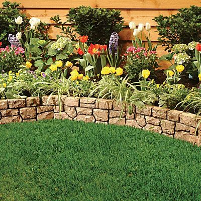 Stone Wall Border Landscape Edging With Images Stone Walls